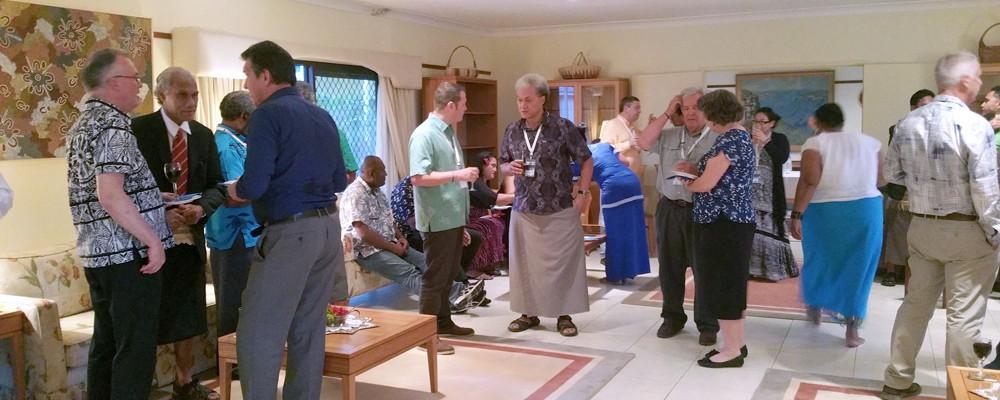 Tonga, 11 August 2016: Prof Gary Jones with Tongan PM Samuela ʻAkilisi Pōhiva and Australian High Commissioner Andrew Ford (far left).