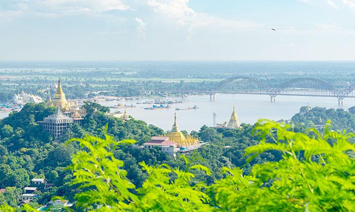 Panoramic view of Sagaing city, Mandalay, Myanmar