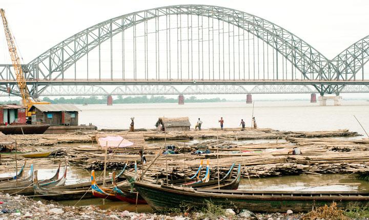 Port activity on Ayeyarwady River