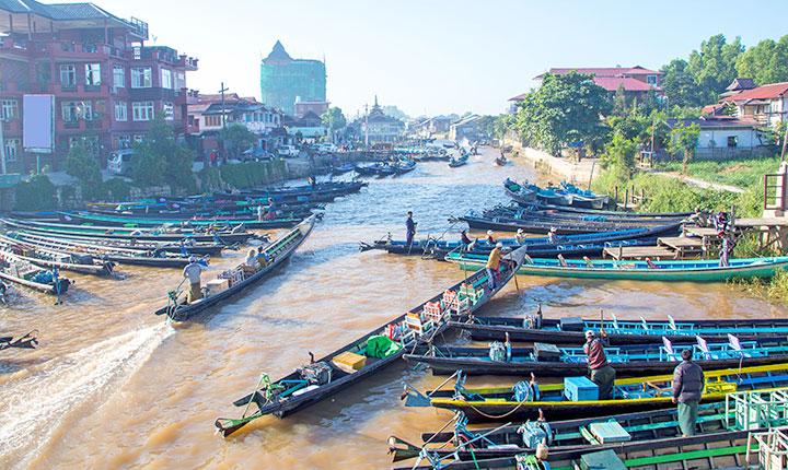 Fishing boats at Inle lake in Myanmar.