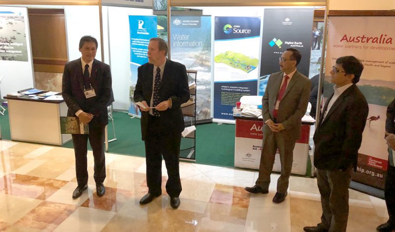 Launch of the CRCWSC paper on WASH (L-R) Tony Wong, Scott Dawson, and Bambang Susanto