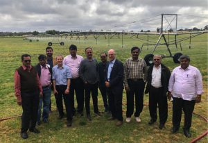 Delegates visiting irrigation equipment in Shepparton, Victoria.