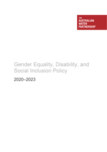 AWP Gender Equality, Disability, and Social Inclusion Policy 2020-2023 (cover)